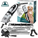 Pet Union Professional Dog Grooming Kit - Rechargeable, Cordless Pet Grooming Clippers & Complete Set of Dog Grooming Tools. Low Noise & Suitable for Dogs, Cats and Other Pets (Chrome)