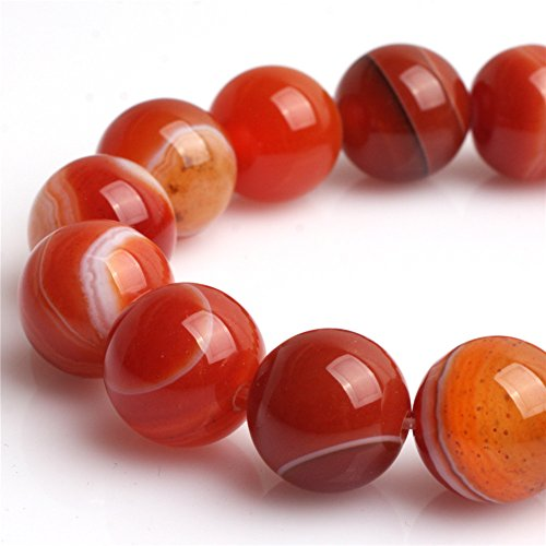 Stripe Red Agate Beads for Jewelry Making Natural Gemstone Semi Precious 14mm Round 15