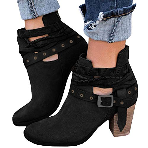 Tomwell Womens Ankle Boot Shoes Block Heel Buckle Mary Jane Winter Autumn Bootie Casual High Heels Black