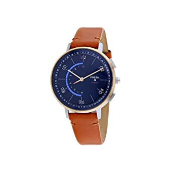 Fossil Womens Hybrid Smartwatch Stainless Steel Analog-Quartz Watch with Leather Strap, Brown, 16 (Model: FTW5027