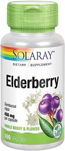 Solaray Elderberry 450mg General Wellbeing Support During Cold Months Flavonoids Phenolic Compounds 100 VegCaps