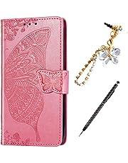 ikasus - Funda tipo libro para Samsung Galaxy J4 2018, diseño de mandala en relieve con mariposa y rosa, Rosado