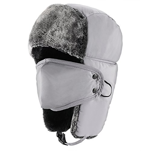 Mysuntown Unisex Winter Trooper Hat Hunting Hat Ushanka Ear Flap Chin Strap and Windproof Mask,Gray,22-24 Inches ,One Size Fits All