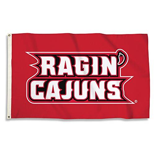 BSI NCAA Louisiana Lafayette Ragin' Cajuns Flag with Grommets, Red, 3' x 5' (Hanging Lafayette Outdoor)