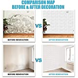 Wasait 20PCS White/Grey Brick 3D Wall Panels Large