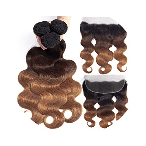 Ombre Bundles with Frontal Closure 1B/4/30 Ombre Blonde Colored Body Wave Remy Brazilian Human Hair Bundles with Frontal Closure,24 24 24 & Closure20,Free Part]()