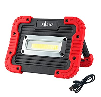 10W COB LED Work Lights 850 Lumens Flood Lights Outdoor Camping Lights Spotlights Searchlight Built-in Lithium Batteries Lamp With USB Ports to charge Mobile Devices for Emergencies, Hurricanes SOS
