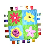 J&C Family Owned Little Tag Baby Sensory, Security & Teething Closed Ribbon Style Colors Security Comforting Teether Blanket - Full Bloom Flowers Blue -Green Theme