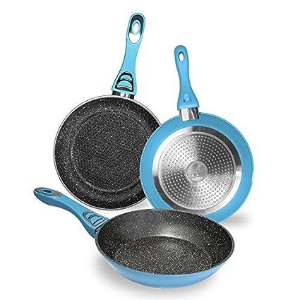 Cecotec Pack de 3 sartenes con Revestimiento cerámico ecológico de Piedra. 5 mm de Grosor. Aptas para Todas Las cocinas, Incluidas Las de ...
