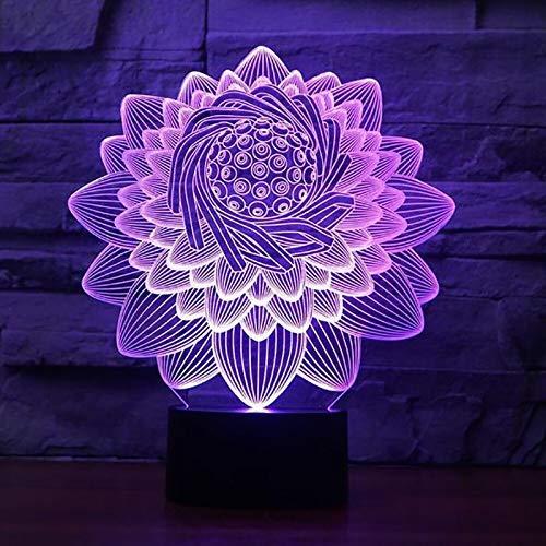 3D Nachtlicht 3D Lotus Blaume Form Tischlampe 7 Farben Led Touch Swithc Floral Nachtlicht USB Schlaf Beleuchtung Lampara Kinder Geschenke Schlafzimmer Dekor LED-Lichtquellen