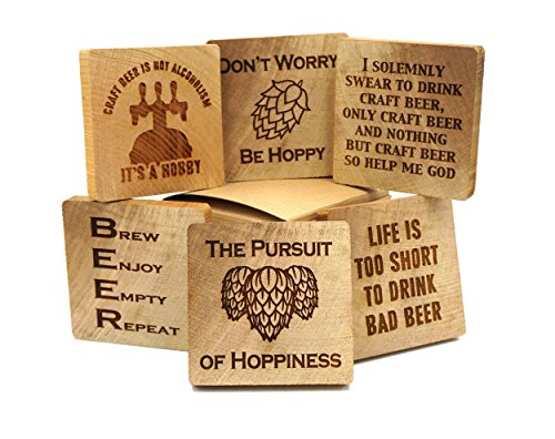 Craft Beer Coasters - Six pack of rustic wood coasters with craft beer sayings