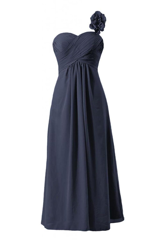 DaisyFormals Women Long Evening Dress One Shoulder Chiffon Bridesmaid Dress(BM346)