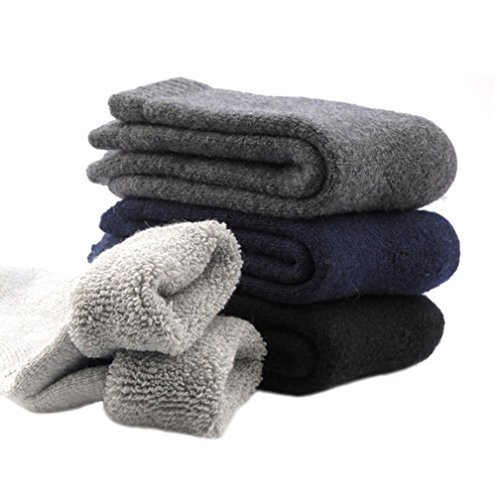 3 Pairs Men's Cashmere Wool Blended Super Thick Warm Winter Crew Socks Size 7-11 (Socks Thick Wool)