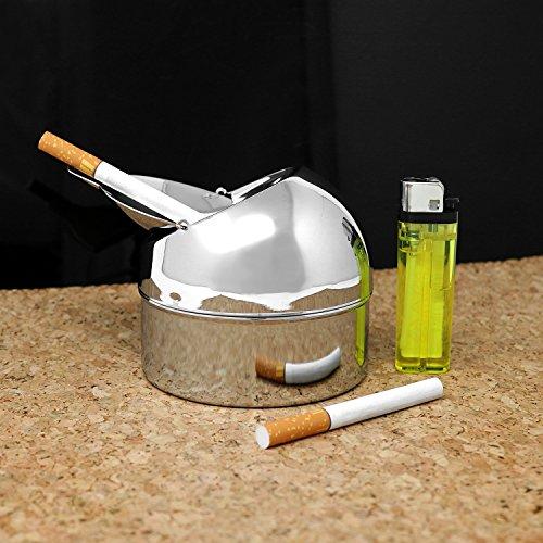 com-four® Cenicero cerrado de metal para uso interior y exterior con función de plegado: Amazon.es: Hogar