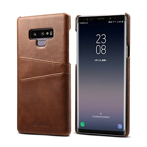 Galaxy Note 9 Case, Bpowe Slim PU Leather Back Case Cover with Credit Card Holder Vintage Leather Wallet Phone Case for Samsung Galaxy Note 9 (Brown)