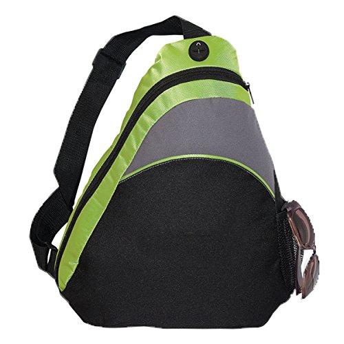 Bags For LessTM Single Strap Sling Backpack Knapsack, Black/Lime