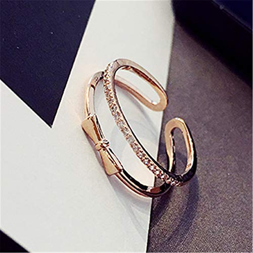 (Sweetheart Princess Bow Wave People Opening Korean Jewelry Crystal Ring Ring Women Girls Joints (Golden)