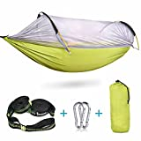 iSPECLE Camping Hammock with Netting, Hanging Swing Outdoor Travel Hammock Bed with Tree Straps Stuff Sack Lightweight Folding Portable Easy to Set up Yard Backpacking Hiking Sleeping Green