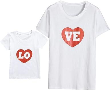QinMM Camiseta de Manga Corta para mamá y bebé, Tops Camisas de ...