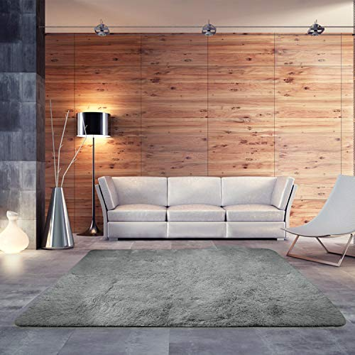 BlueSnail Super Ultra Soft Modern Shag Area Rugs, Bedroom Livingroom Sittingroom Floor Rug Carpet Blanket for Children Play Home Decorate (4' x 5.3', Rectangle, Grey)