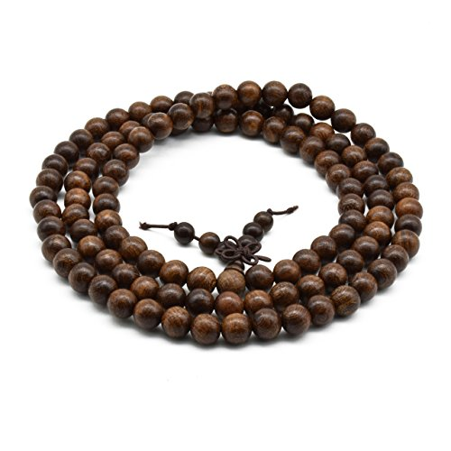 Zen Dear Unisex Natural Silkwood Tibetan Buddhism Meditation Prayer Bead Necklace Japa Mala Beads Bracelets (8mm x 108 Beads)