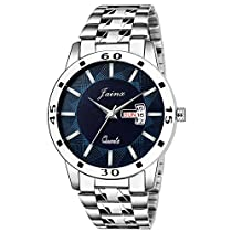 Jainx Silver Day and Date Analogue Watch for Mens & Boys