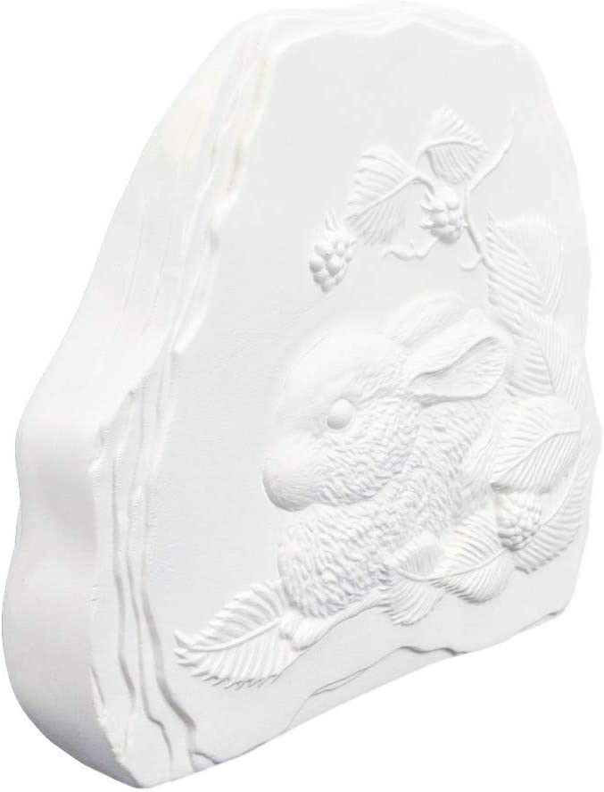 Bunny Rabbit w Strawberries Welcome Garden Rock 6.5 Ready to Paint Ceramic Bisque Handmade in The USA