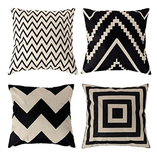 Square Decorative Throw Pillows Cushion Covers U-LOVE Cotton Linen Black and White modern geometry Print Home Pillowcases 18 X 18 Inch ,4 pack with 2 pack Gift Pouches (Stripe (Stripe Cushion)