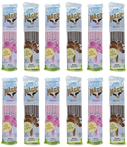 Chocolate Strawberry Milk (Milk Magic, Milk Flavoring Straws, Variety Pack Including Chocolate and Strawberry, 12 Six-Packs, 6 of Each Flavor)