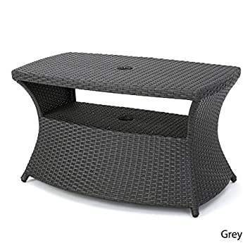 Berkeley Outdoor Wicker Side Table with Umbrella Hole by Christopher Knight  HomeAmazon com  Berkeley Outdoor Wicker Side Table with Umbrella Hole  . Patio Furniture With Umbrella Hole. Home Design Ideas