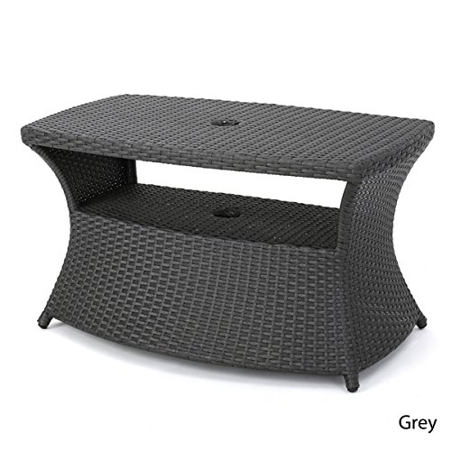 Berkeley Outdoor Wicker Side Table with Umbrella Hole by Christopher Knight Home (Furniture Kontiki)