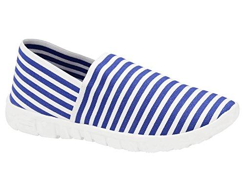 Blanche Go Taille Rayures 3 Baskets Mousse Chaussures De Forme Tennis Mémoire Toile Bleu 8 Plates Femmes À Espadrille Enfiler Générique BHOUqRxgw6