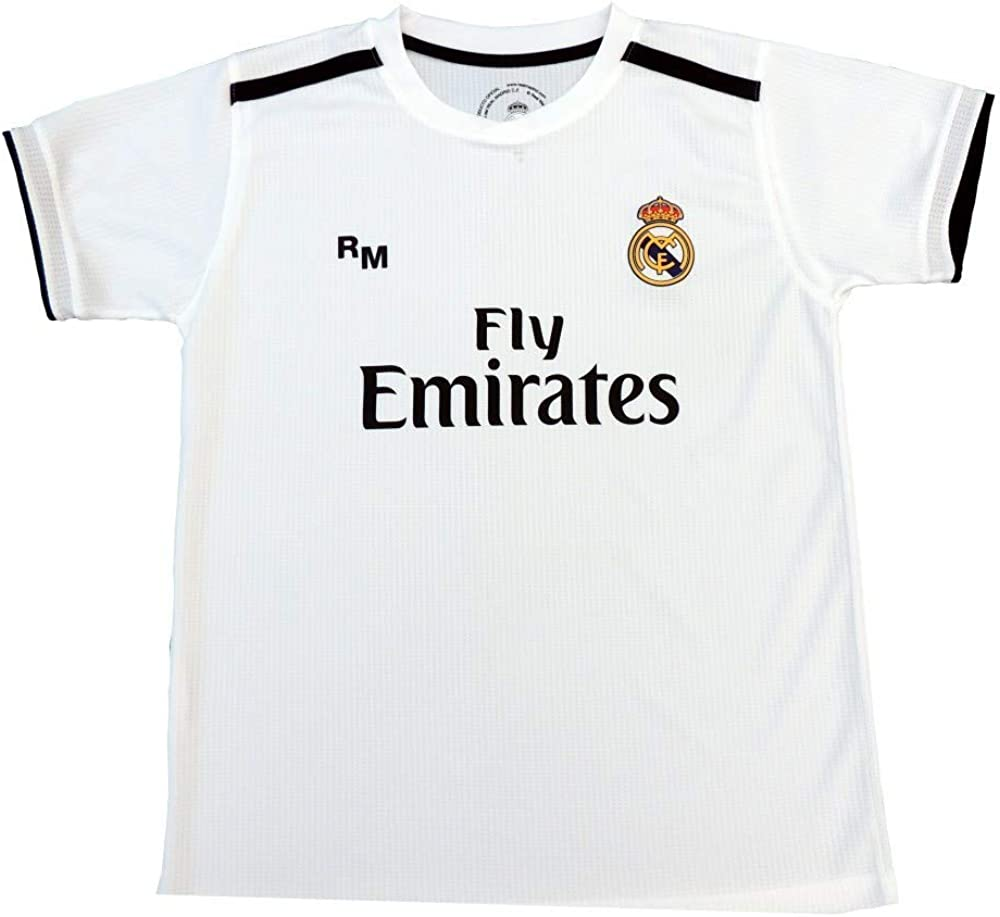 Real Madrid Camiseta Adulto Sin Dorsal. Réplica Oficial de la Primera Equipación Temporada 2018-2019 - Talla M, Blanco