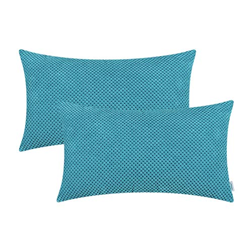- CaliTime Pack of 2 Comfy Bolster Pillow Covers Cases for Couch Sofa Bed Comfortable Soft Solid Corduroy Pineapple Trellis Both Sides 12 X 20 Inches Lake Blue