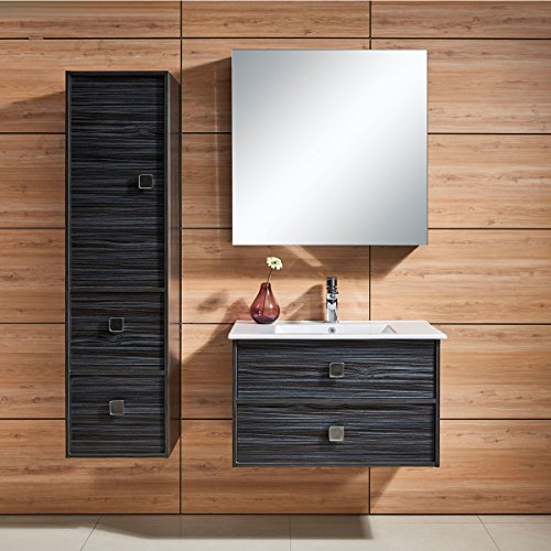 Decoraport 31 In. Wall Mount Bathroom Vanity Set with Single Sink and Mirror (DK-656800) by Decoraport