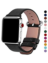 Fullmosa Compatible Apple Watch band 38mm 42mm, Yan Calf Leather Smart Watch Band/Strap/Bracelet for iWatch Series 3, Series 2, Series 1, Sport and Edition Versions 2015 2016 2017, 38mm Black