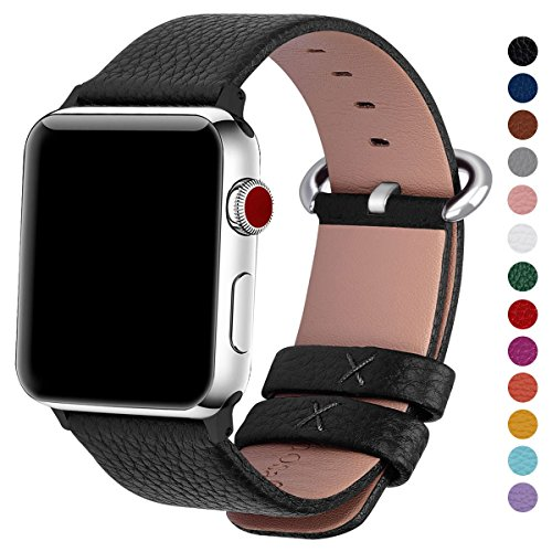 Fullmosa Compatible Apple Watch Band 38mm 42mm Calf Leather Compatible iWatch Band Replacement Strap Compatible Apple Watch Series 3 Series 2 Series 1,38mm Black