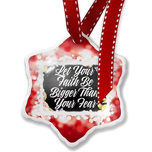 Christmas Ornament Floral Border Let Your Faith Be Bigger Than Your Fear, red - Neonblond by NEONBLOND