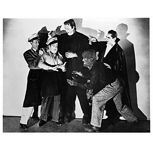 Abbott and Costello with Frankenstein Werewolf and Dracula Black and White Photo 8 inch x 10 inch PHOTOGRAPH