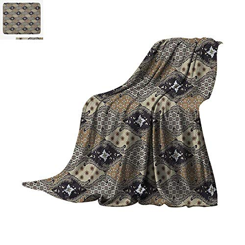 - Asian Custom Design Cozy Flannel Blanket Indonesian Javanese Style Batik Pattern Wavy and Floral Design Old Fashioned Tile Digital Printing Blanket 80