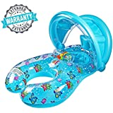 Baby Floats Pool Baby Swimming Ring, Baby Mom Swimming Ring Removable Sun Conopy Swim Training, Ridable Safe Baby Pool Float Drop Seat