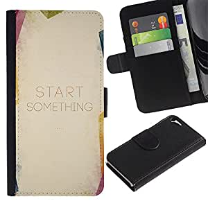 Billetera de Cuero Caso Titular de la tarjeta Carcasa Funda para Apple Iphone 5 / 5S / Quote Start Text Paper / STRONG