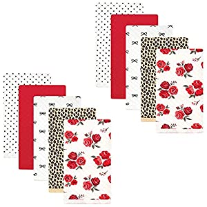 Hudson Baby Unisex Baby Quilted Burp Cloths, Rose Leopard, One Size