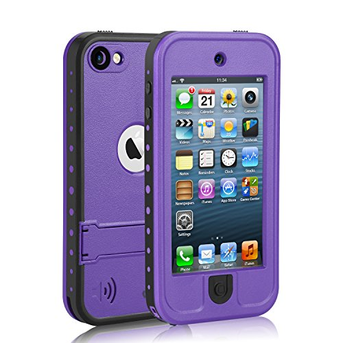 - Waterproof Case for iPod 5 iPod 6, Meritcase Waterproof Shockproof Dirtproof Snowproof Case Cover with Kickstand for Apple iPod Touch 5th/6th Generation for Swimming Snorkeling Diving (Purple)