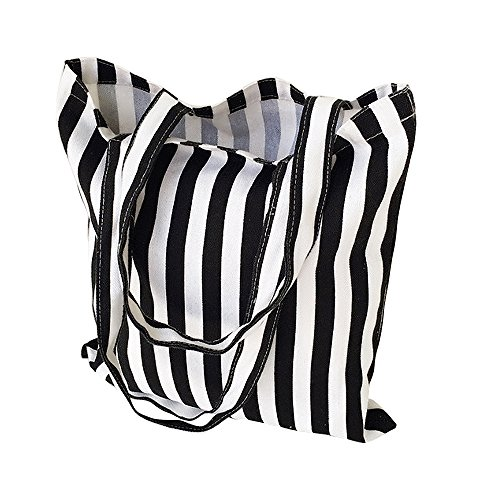 Tote Stripe White - Flowertree Women's Cute Animal Print Canvas Tote Bag (506-Black white stripe/Open)