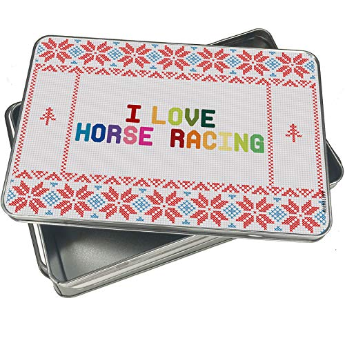 NEONBLOND Cookie Tin Box I Love Horse Racing,Colorful Vintage Christmas Pattern -