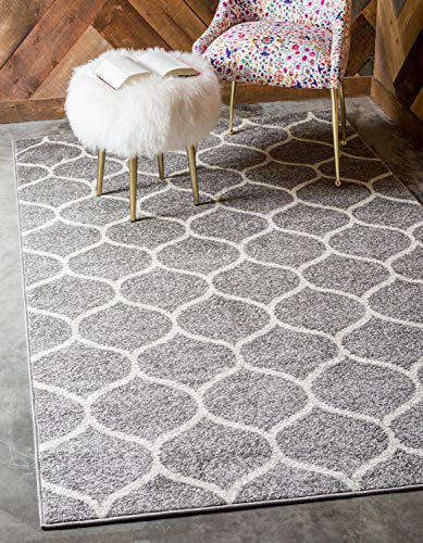 Unique Loom Trellis Frieze Collection Lattice Moroccan Geometric Modern Light Gray Area Rug (8' 0 x 10' 0) (Gray Trellis Carpet)