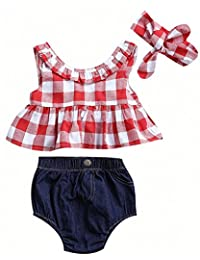 Baby Girls Plaid Ruffle Bowknot Tank Top and Denim Shorts Outfit with Headband (18-24M, Red)