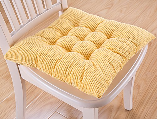 8 Color Winter Soft Thicken Plush Cushions Kitchen Stool Chair Pad with Ties (Small, Yellow)