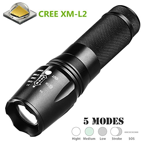 x800 g700 LED Tactical Flashlight cree xm-l2 1000 Lumens Rechargeable Flashlight,Zoomable and Waterproof LED Outdoor Handheld Flashlight,Adjustable Focus and 5 Light Modes for Camping Hiking etc